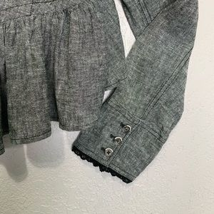 Free People Jackets & Coats - Free People gray cotton/linen peplum crop jacket